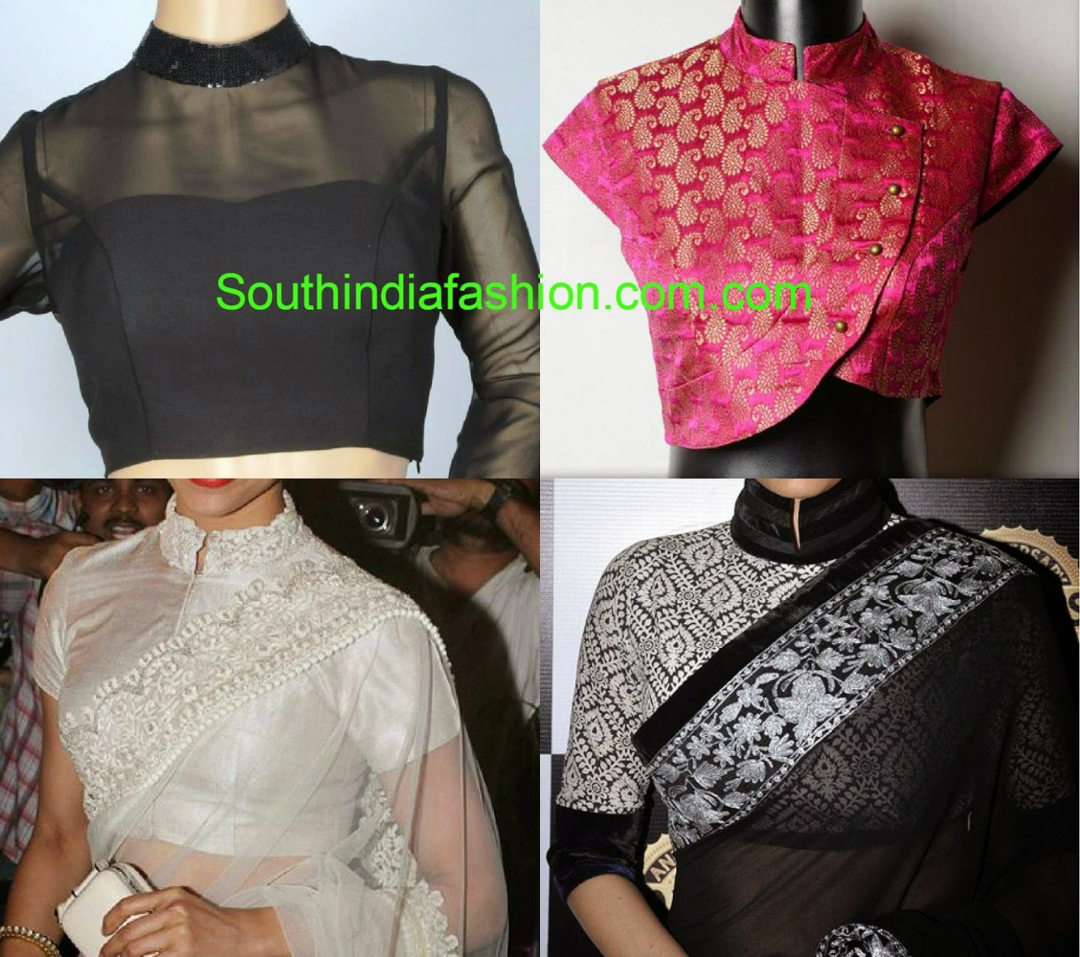 Stand Collar Neck Blouse Designs – South India Fashion
