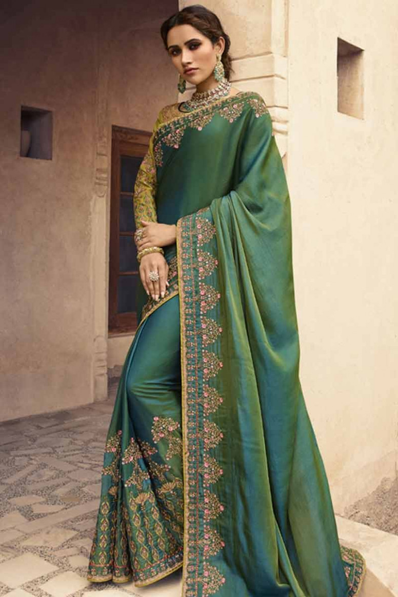 Step out in style with saree, Dark Green silk diwali