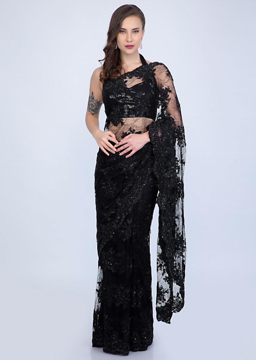 Stunning Black chantilly lace saree embellished with