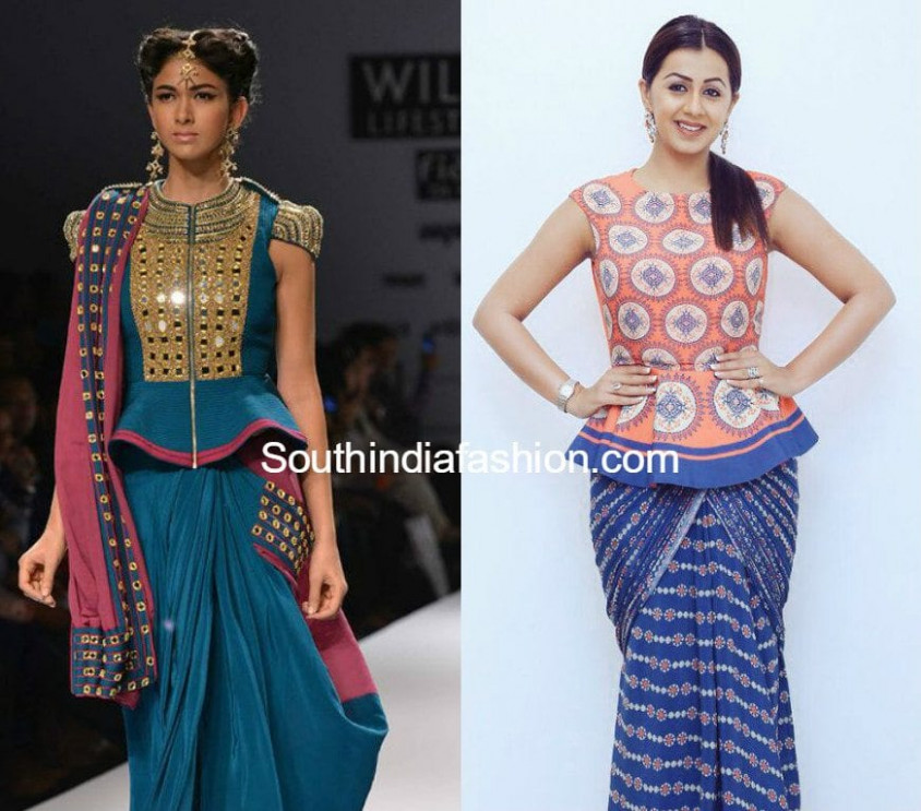 Styling Your Saree with a Peplum Blouse –South India Fashion