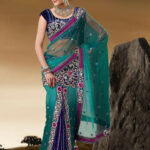 Teal and Blue Net Ready Pleated Saree