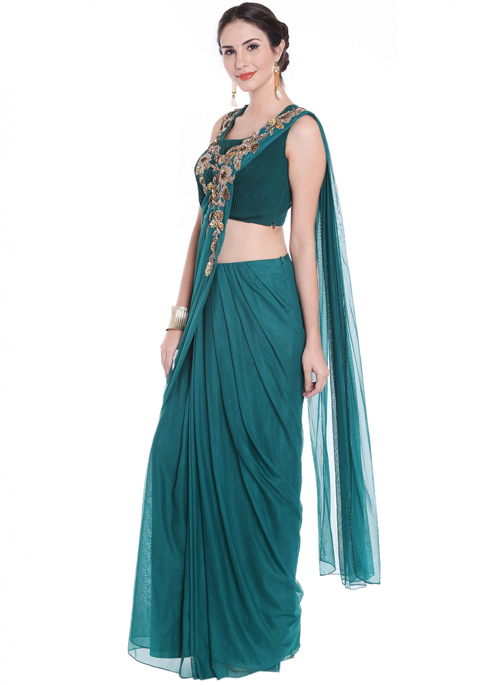 Teal green pre stitched saree in net adorn in zardosi only