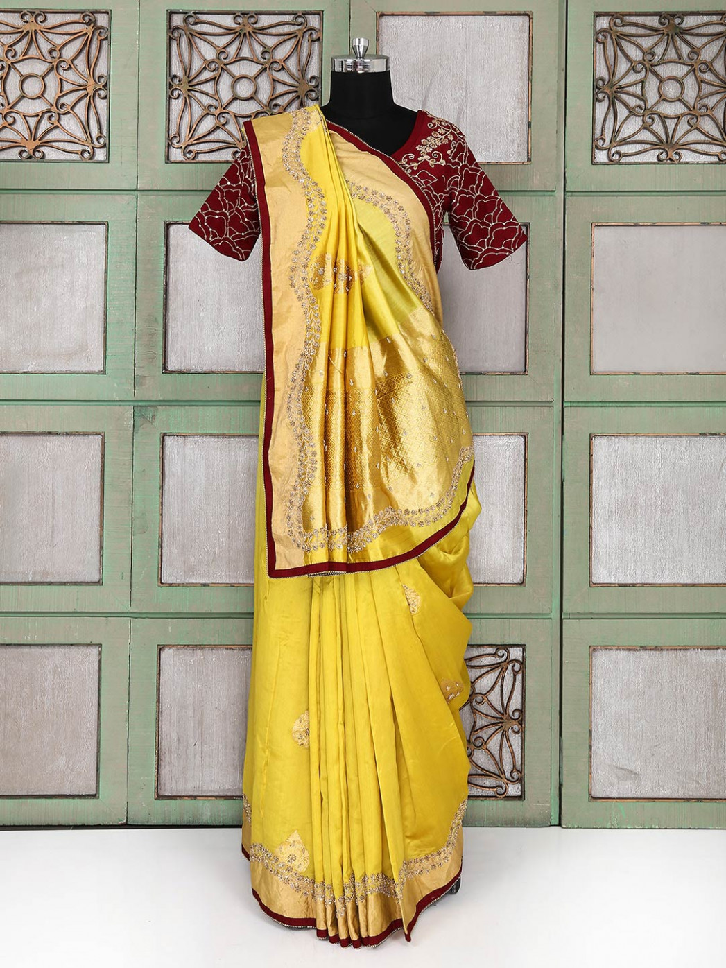 Tissue silk gold saree with ready made blouse - G3