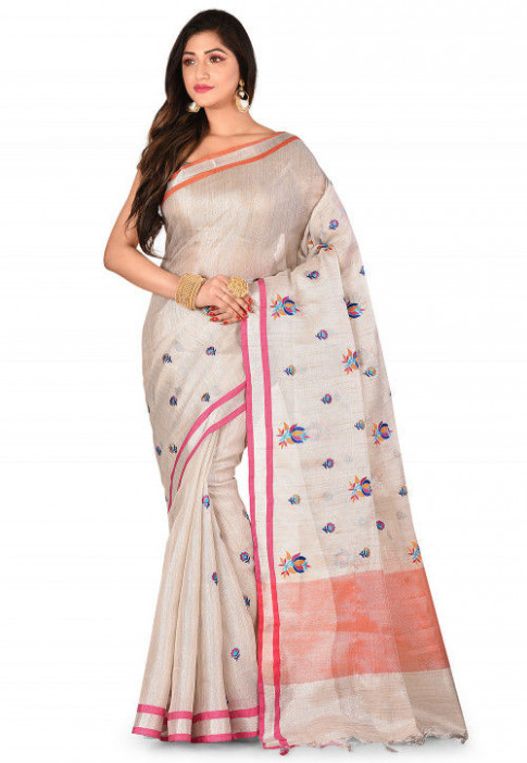 Tissue Silk Saree in Silver : SFBA54