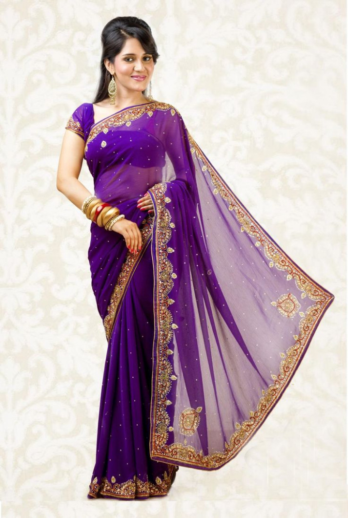 Top 15 Charming Purple Sarees With Pictures  Styles At Life
