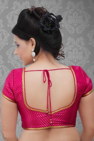 Top 15 Plain Sarees With Designer Blouse  Styles At LIfe - simple saree blouse designs