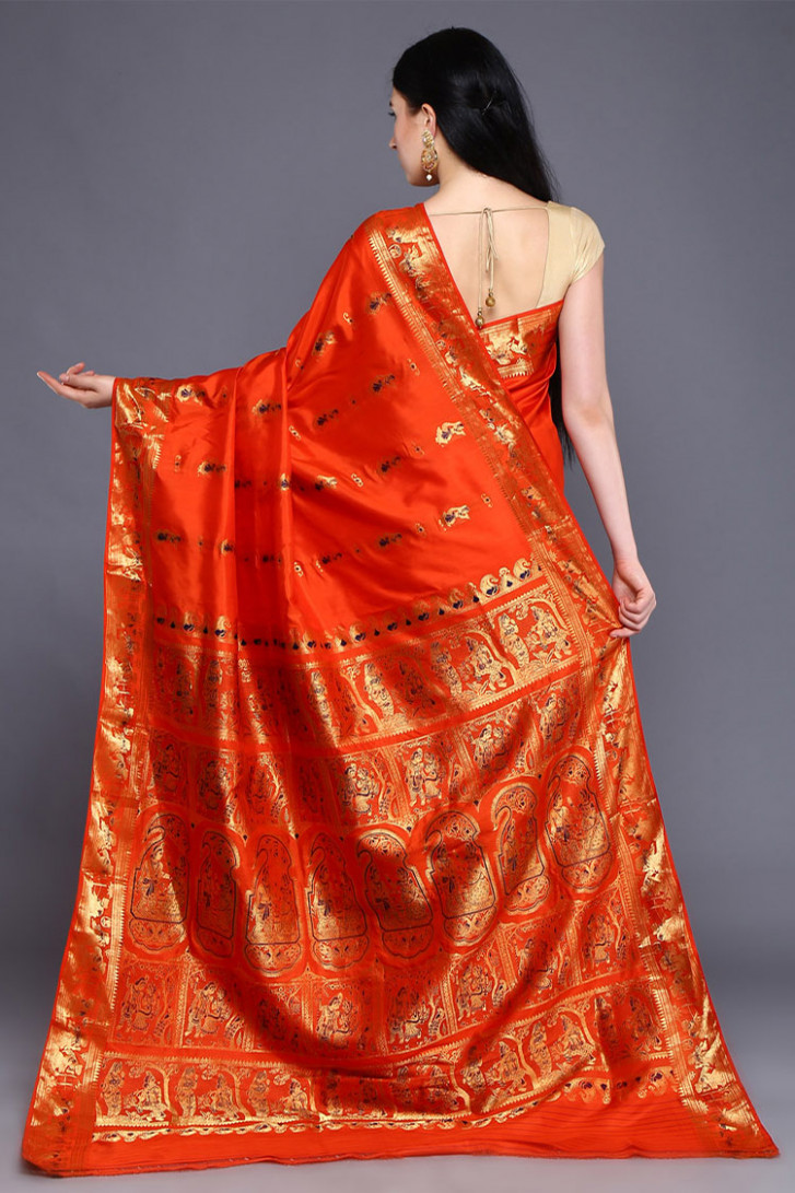 Traditional Orange Baluchari Silk Saree With Blouse Piece