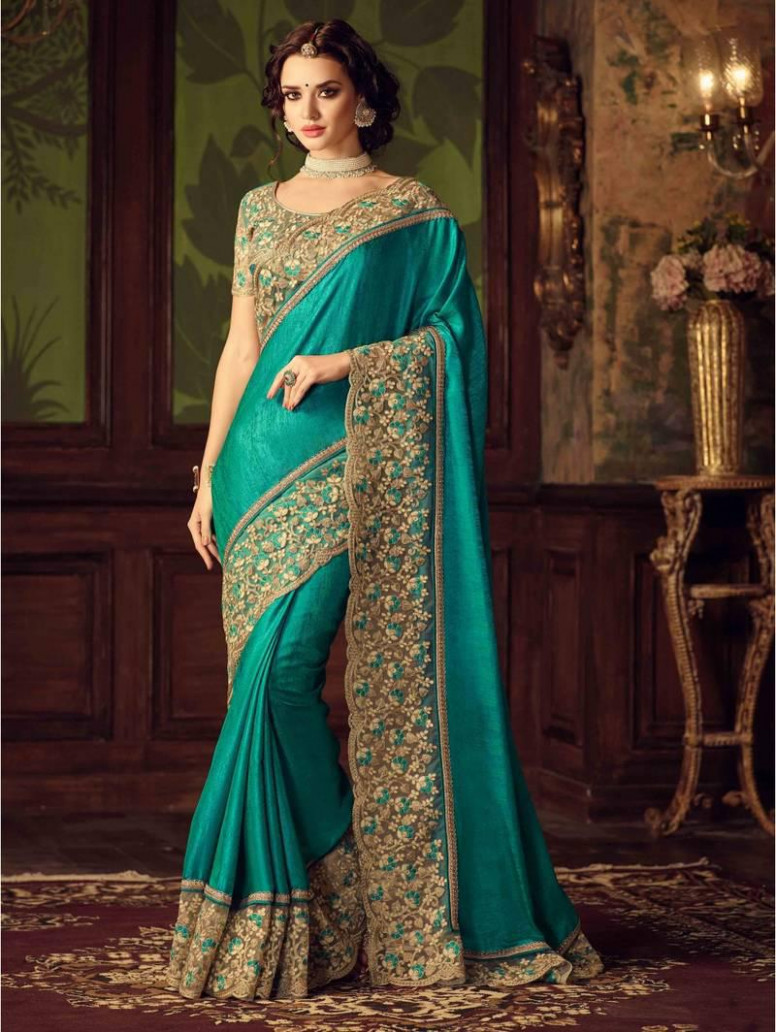 Turquoise Embroidered Art Silk Saree With Blouse