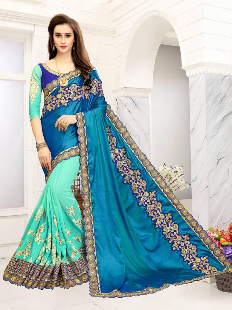 Turquoise embroidered georgette Net Saree With Blouse