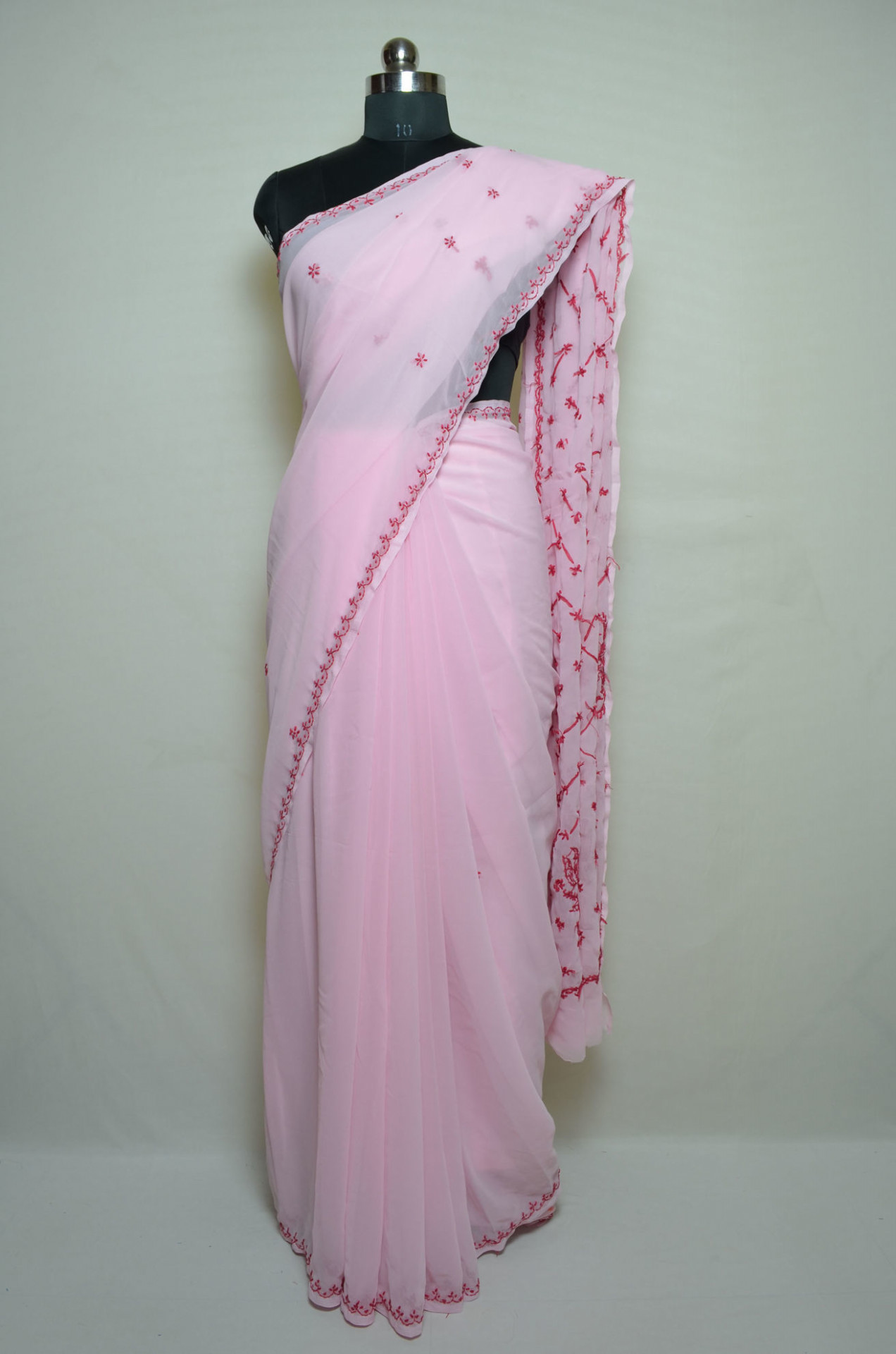 Tvis and Bliss. Baby Pink Lucknow Chikankari Embroidered