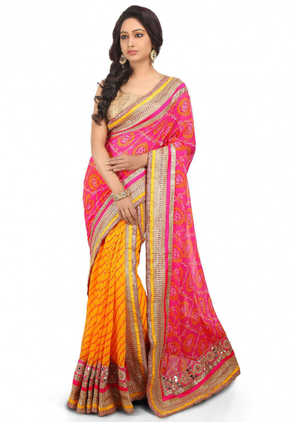 Two Part Georgette Saree in Pink and Yellow : SJN6598