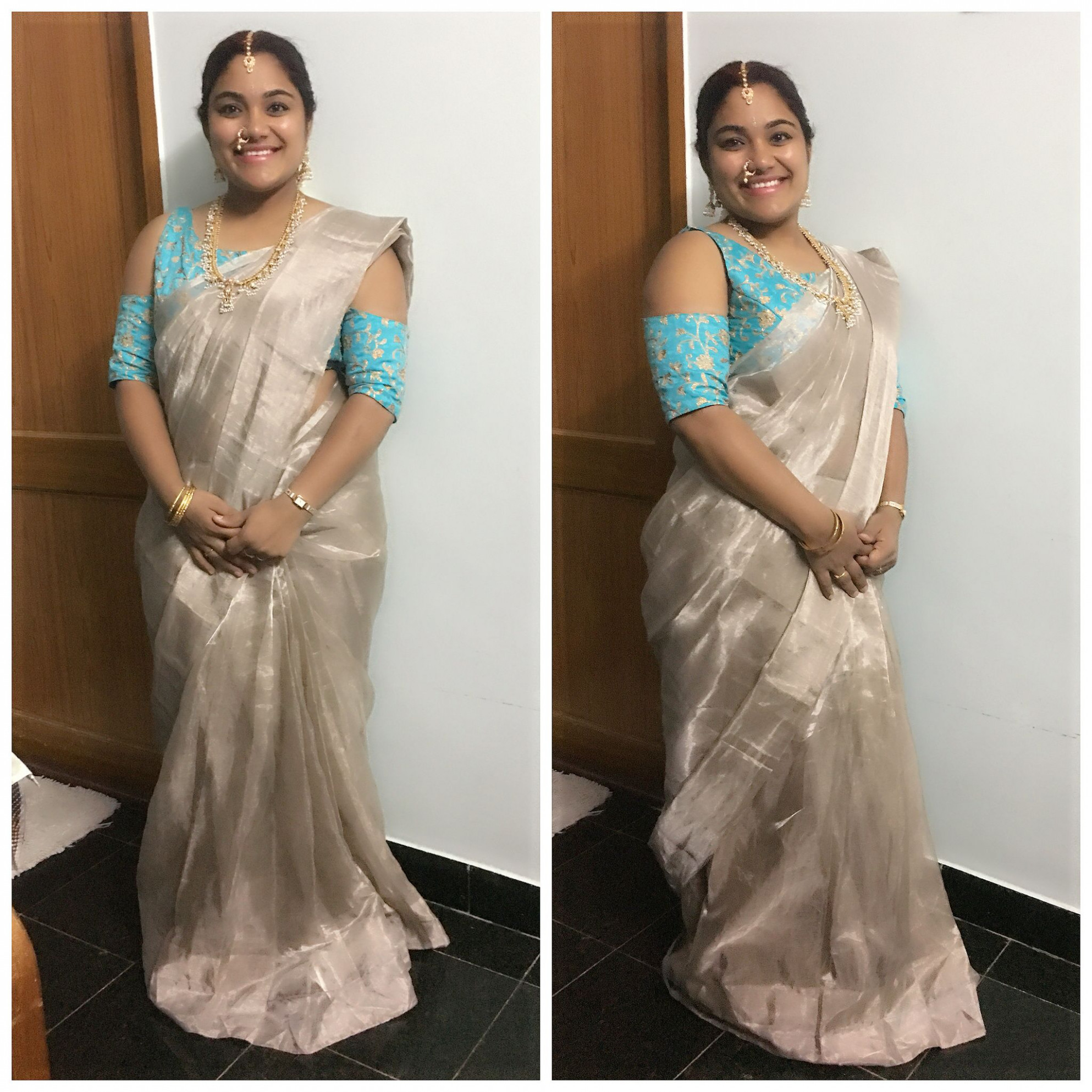 Uppada silver tissue with designer blouse (With images