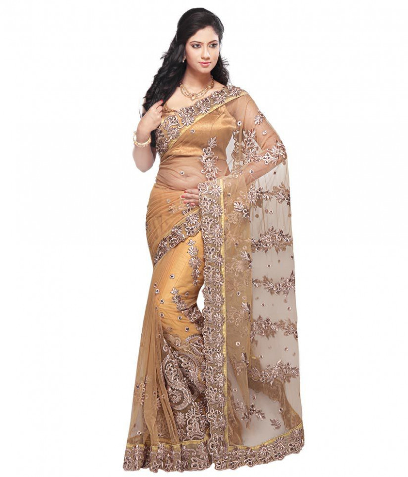 Utsav Fashion Beige Embroidered Net Saree - Buy Utsav