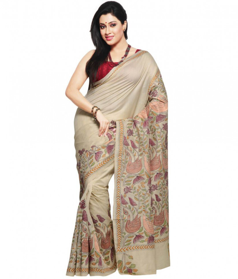 Utsav Fashion Beige Kantha Work Tussar Silk Saree - Buy