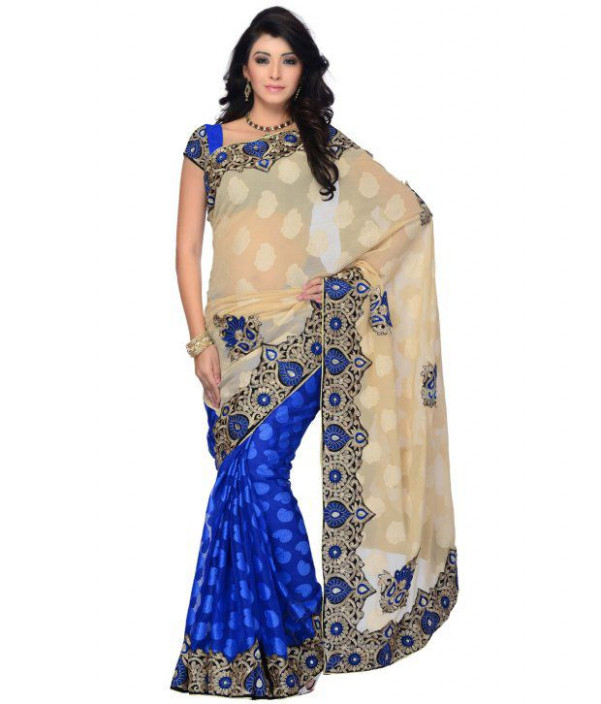 Utsav Fashion Blue Embroidered Chiffon Saree - Buy Utsav