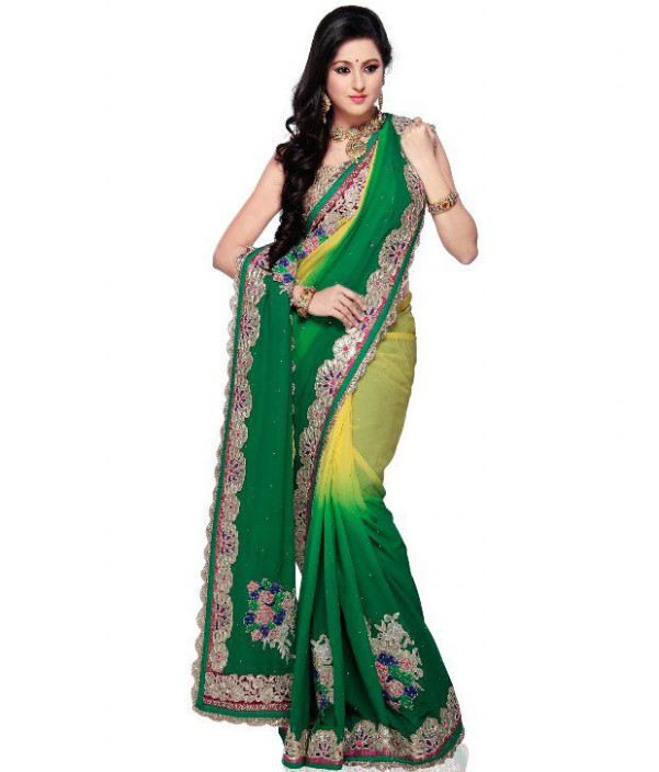 Utsav Fashion Green Faux Georgette Saree - Buy Utsav