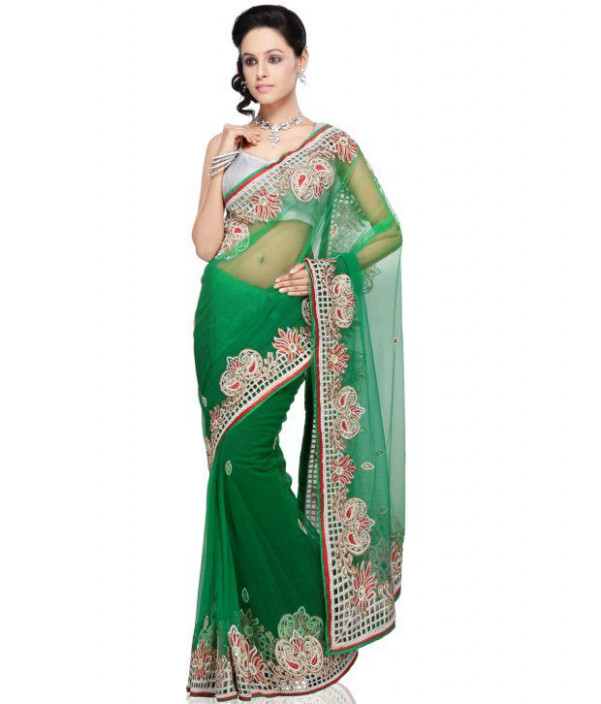 Utsav Fashion Green Net Saree - Buy Utsav Fashion Green