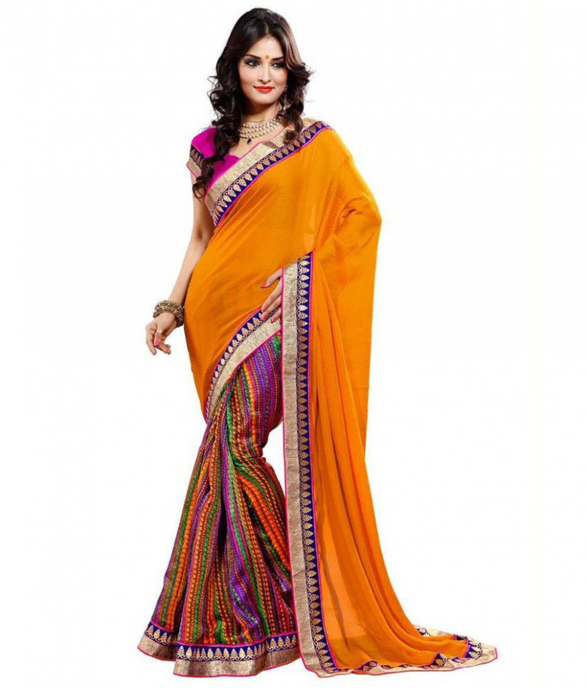 Utsav Fashion Multi Color Faux Georgette Saree - Buy Utsav