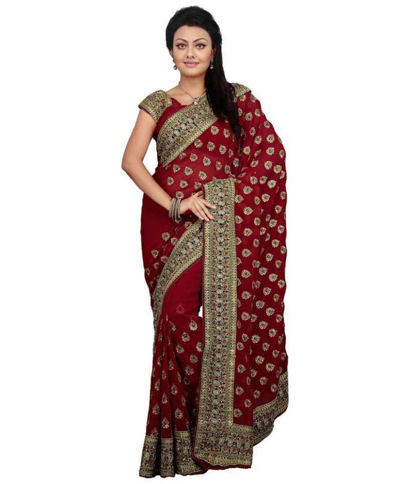 Utsav Fashion Red Embroidered Faux Georgette Saree - Buy
