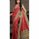 Utsav Fashion Red Faux Crepe Saree with Blouse - Buy Utsav
