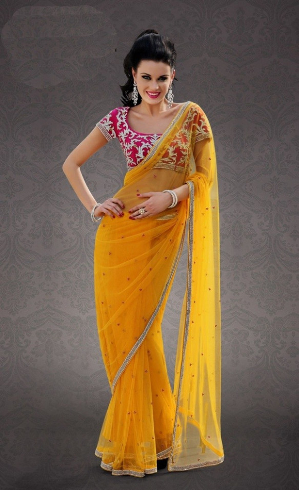 Which color blouse will match a yellow saree? - Quora