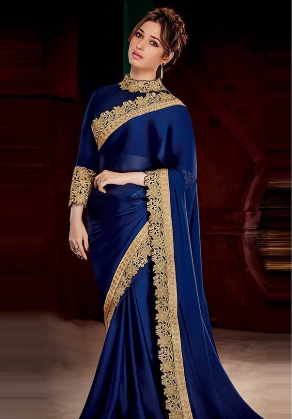 Which color of jewelry is best for a blue saree? - Quora