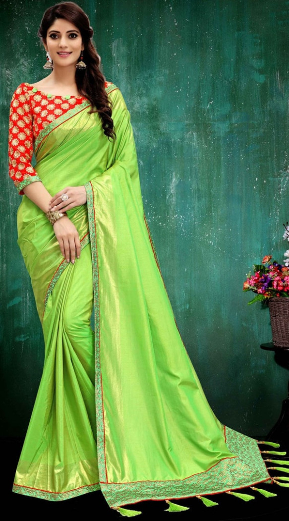 Which colour blouse will suit a green saree? - Quora