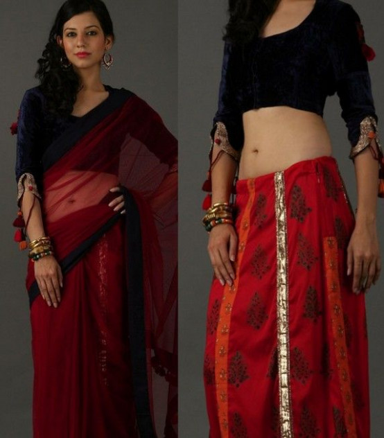Which type of saree petticoat should be used by the