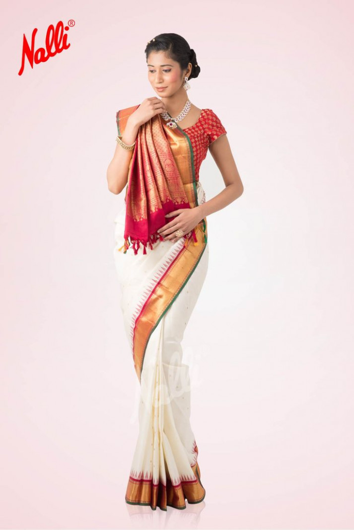 White and Red Kanchipuram Silk Saree  Wedding in 2019