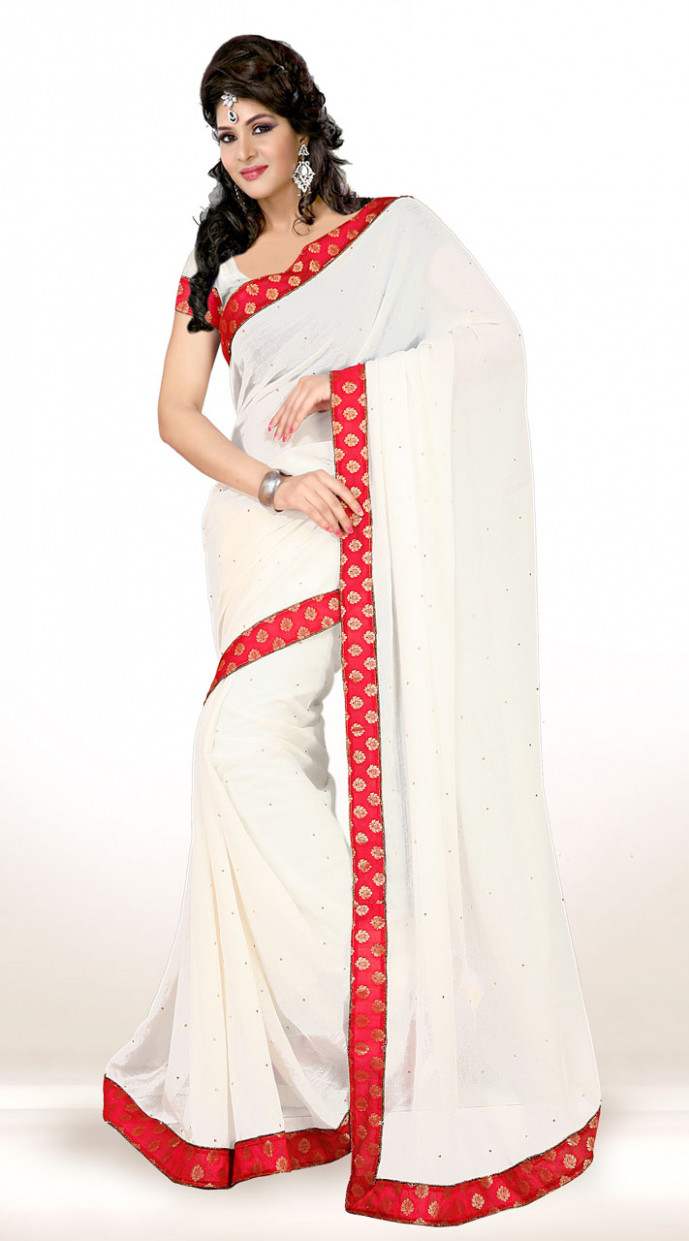 White Chiffon Red Border Stone Work Saree KCV3415607
