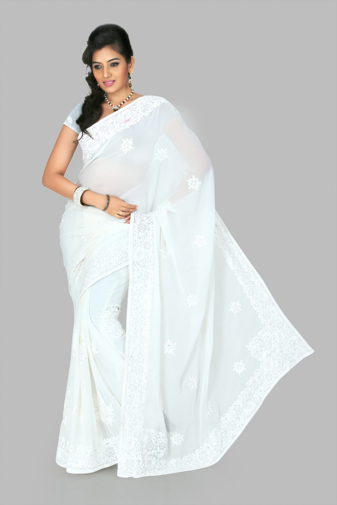 White chiffon saree with blouse (cnc1204) - Online