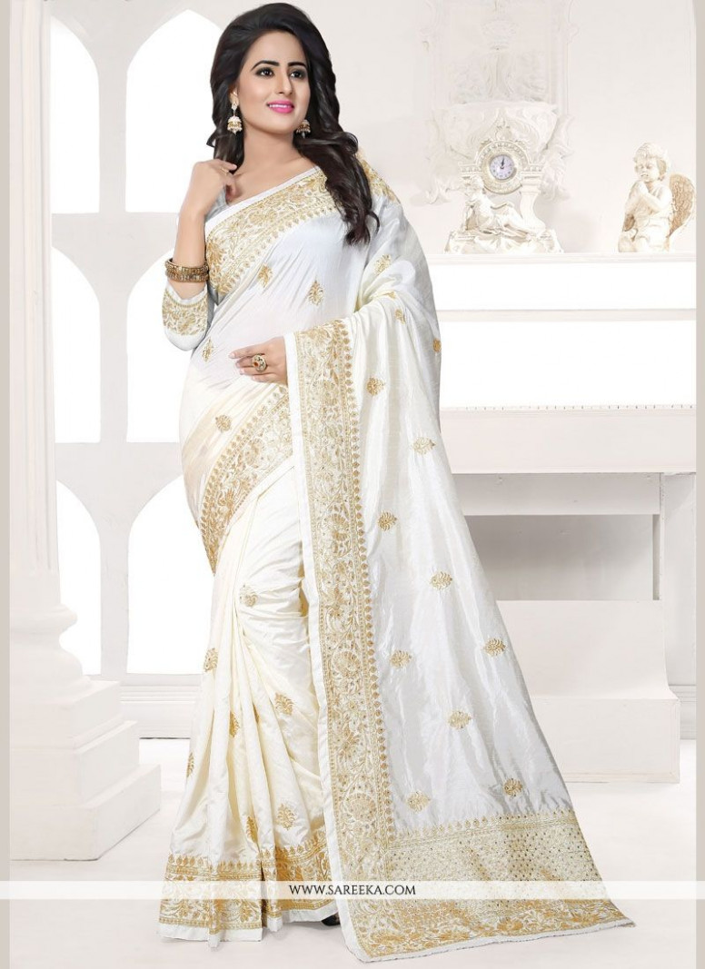 White Designer Traditional Saree buy online - Wedding Sarees