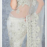 White Net Saree 19108 With Unstitched Blouse  Indian