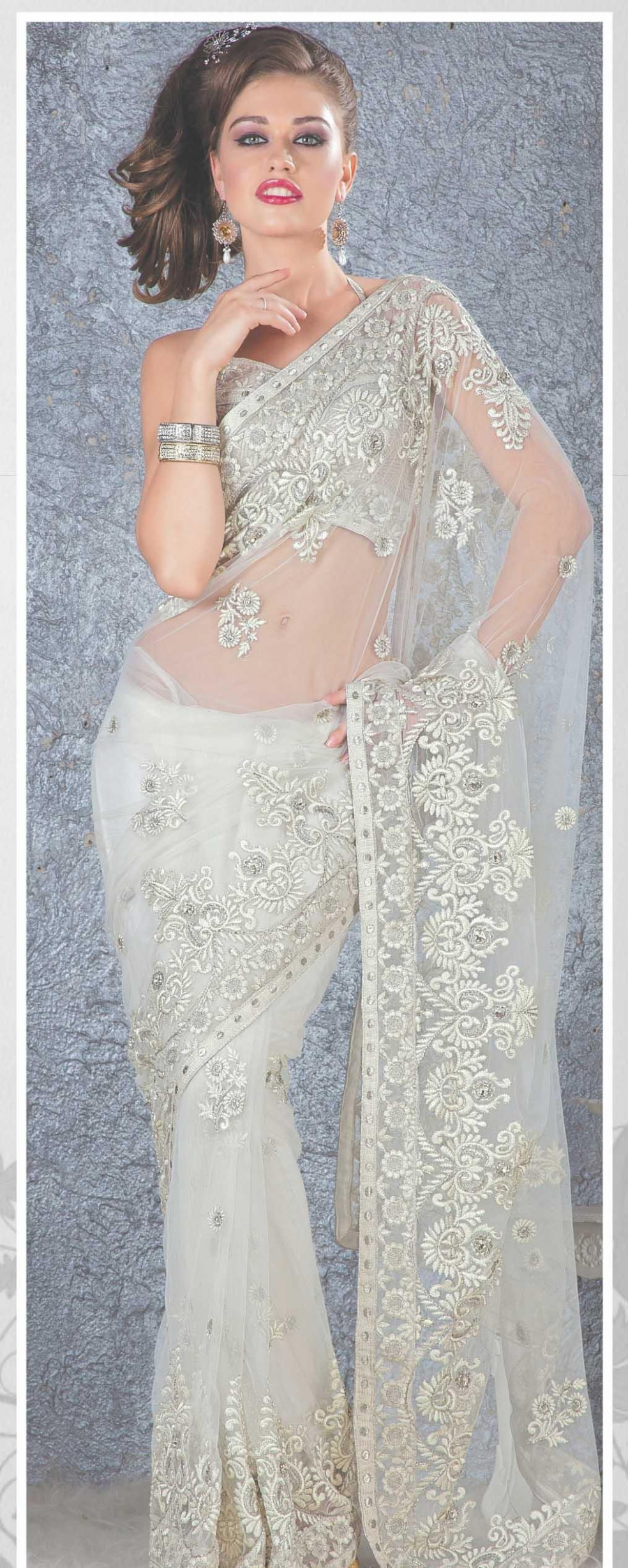 White Net Saree 19108 With Unstitched Blouse  Indian  - white saree for wedding