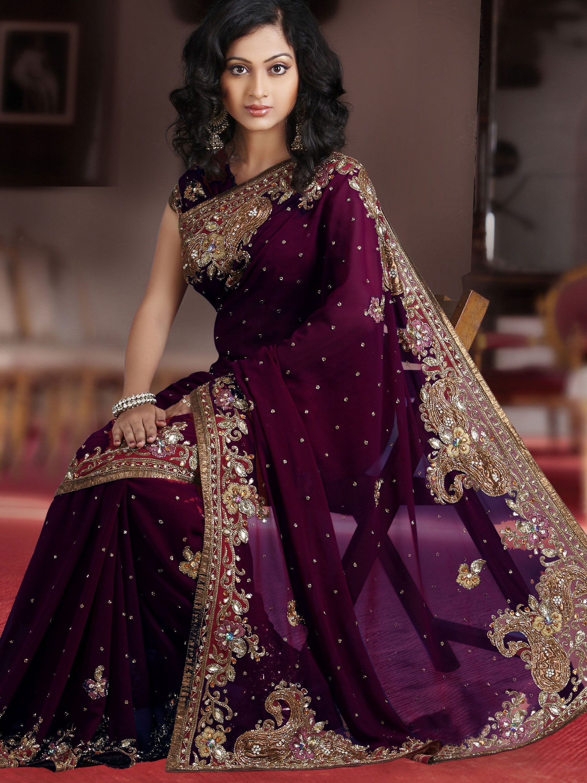 Wine Faux Georgette Saree with Blouse Online Shopping
