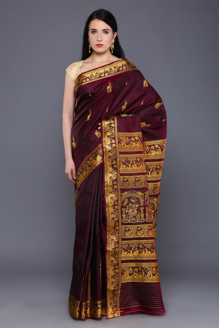 Wine Red Baluchari Silk Saree  Buddha And Beyond