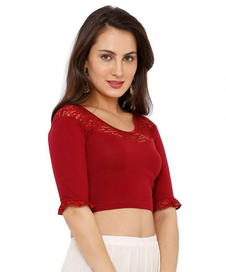 Women's Maroon Lycra Stretchable Readymade Saree Blouse