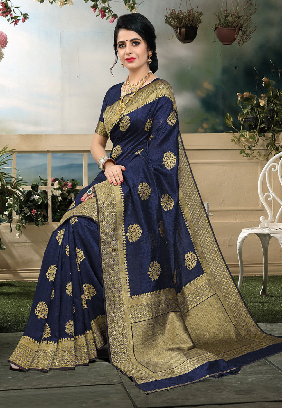 Woven Art Silk Saree in Navy Blue : SAS1372