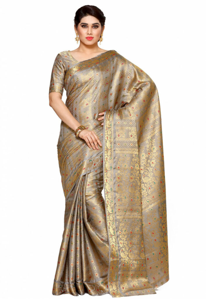 Woven Bangalore Silk Saree in Grey and Golden : SNGA293