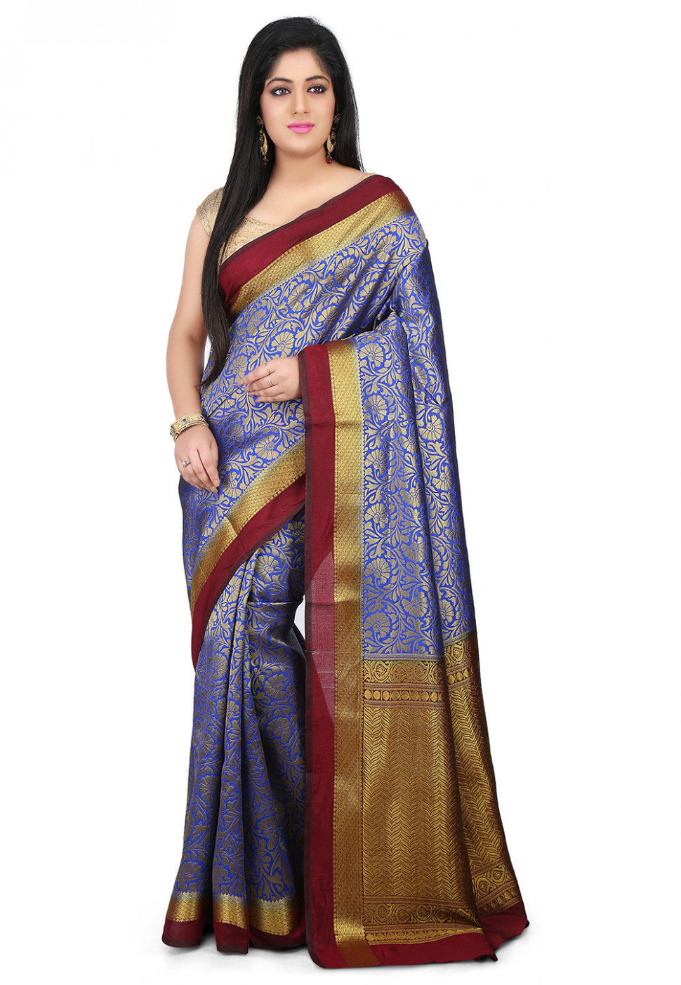 Woven Bangalore Silk Saree in Indigo : SQPA203
