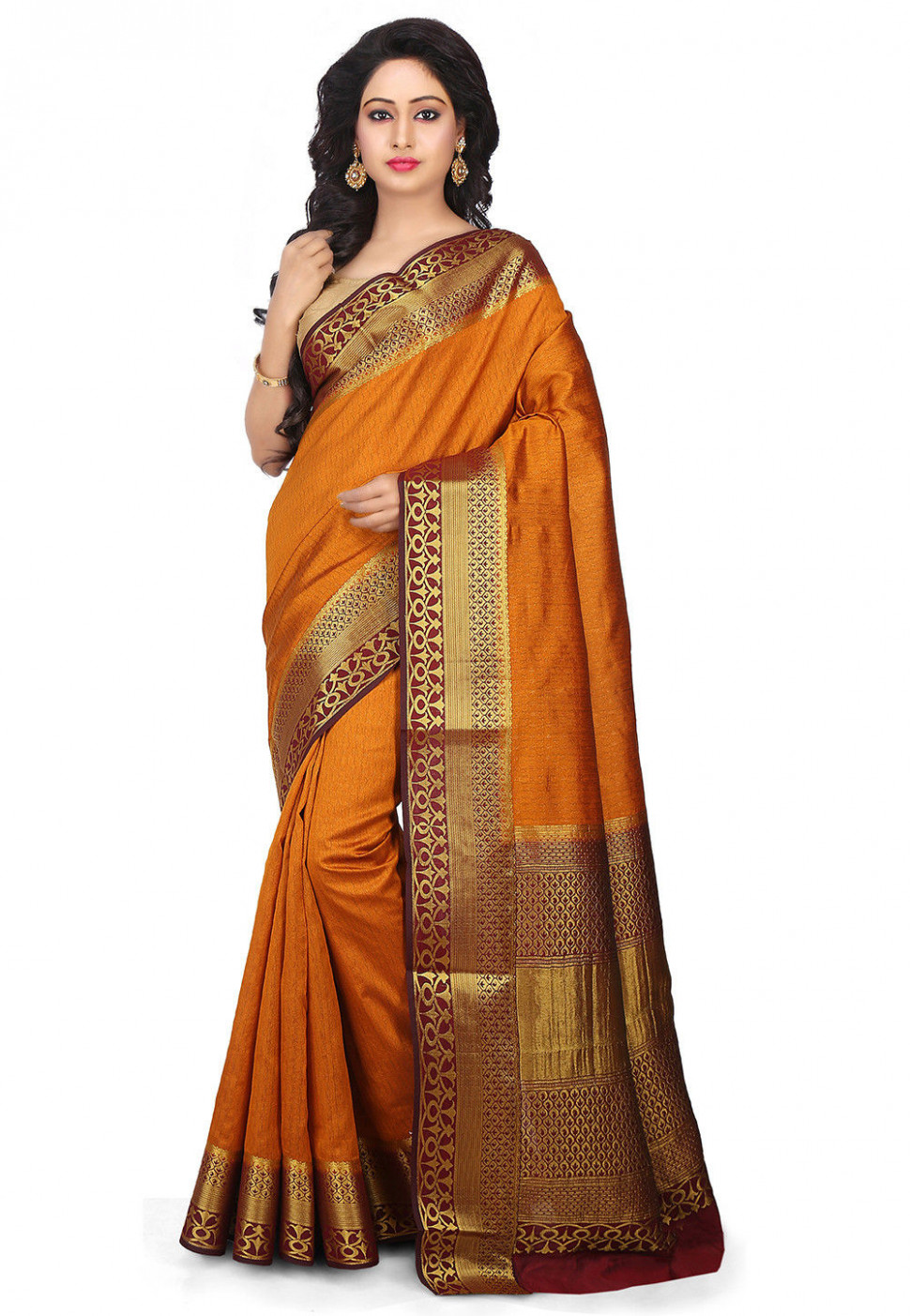 Woven Bangalore Silk Saree in Mustard : SQPA185 - bangalore silk saree