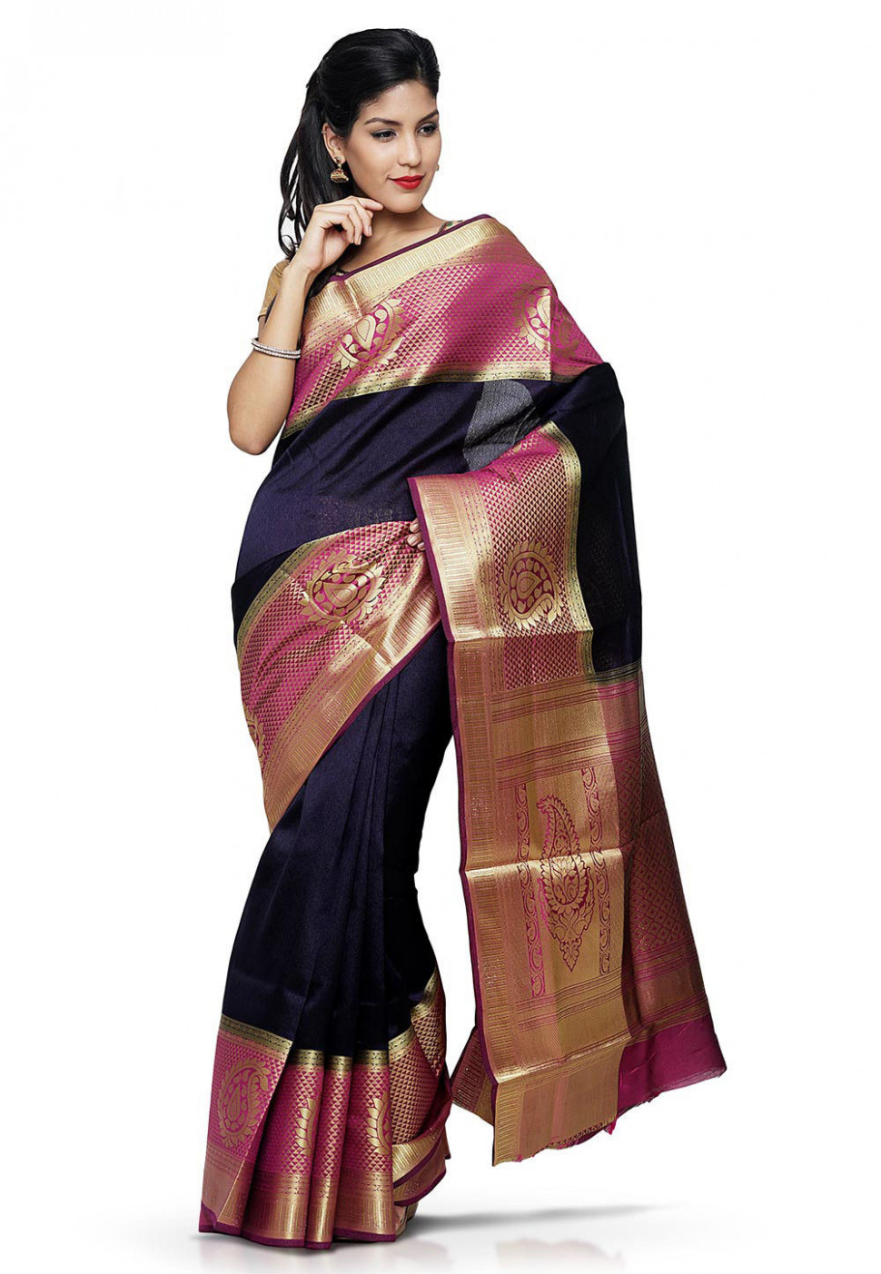 Woven Bangalore Silk Saree in Navy Blue : SQPA96