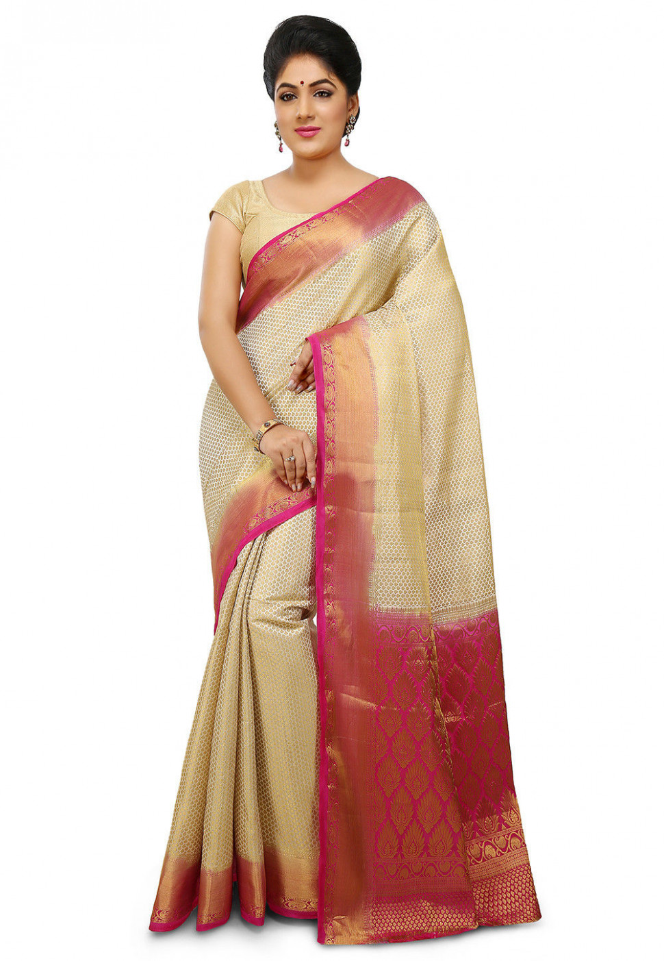 Woven Bangalore Silk Saree in Off White : SBRA802