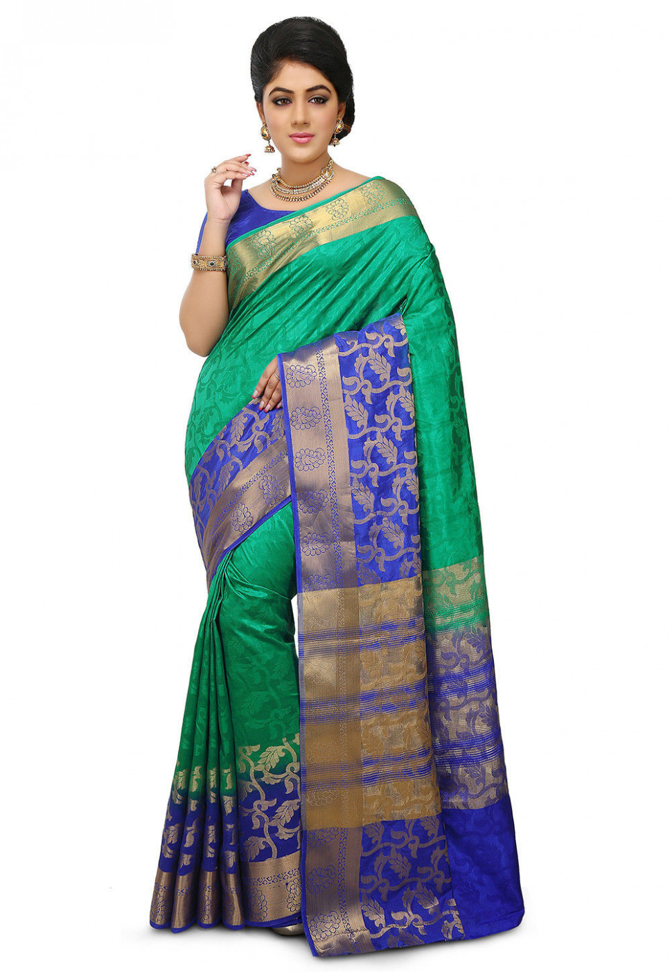 Woven Bangalore Silk Saree in Teal Green : SBRA710