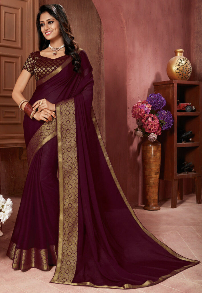 Woven Border Chiffon Saree in Wine : SFVA704