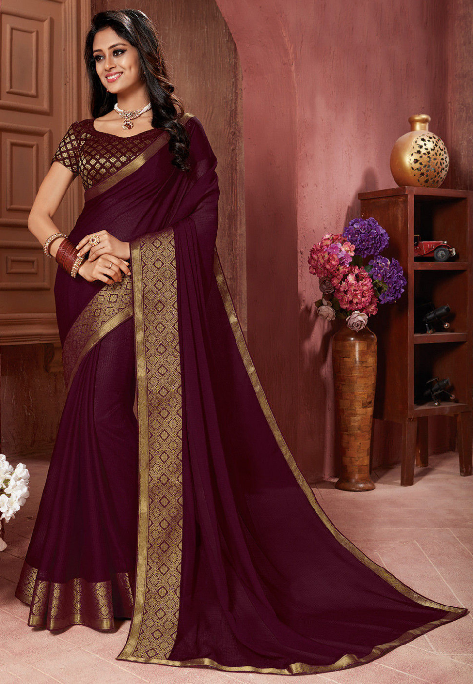Woven Border Chiffon Saree in Wine : SFVA704 - chiffon saree