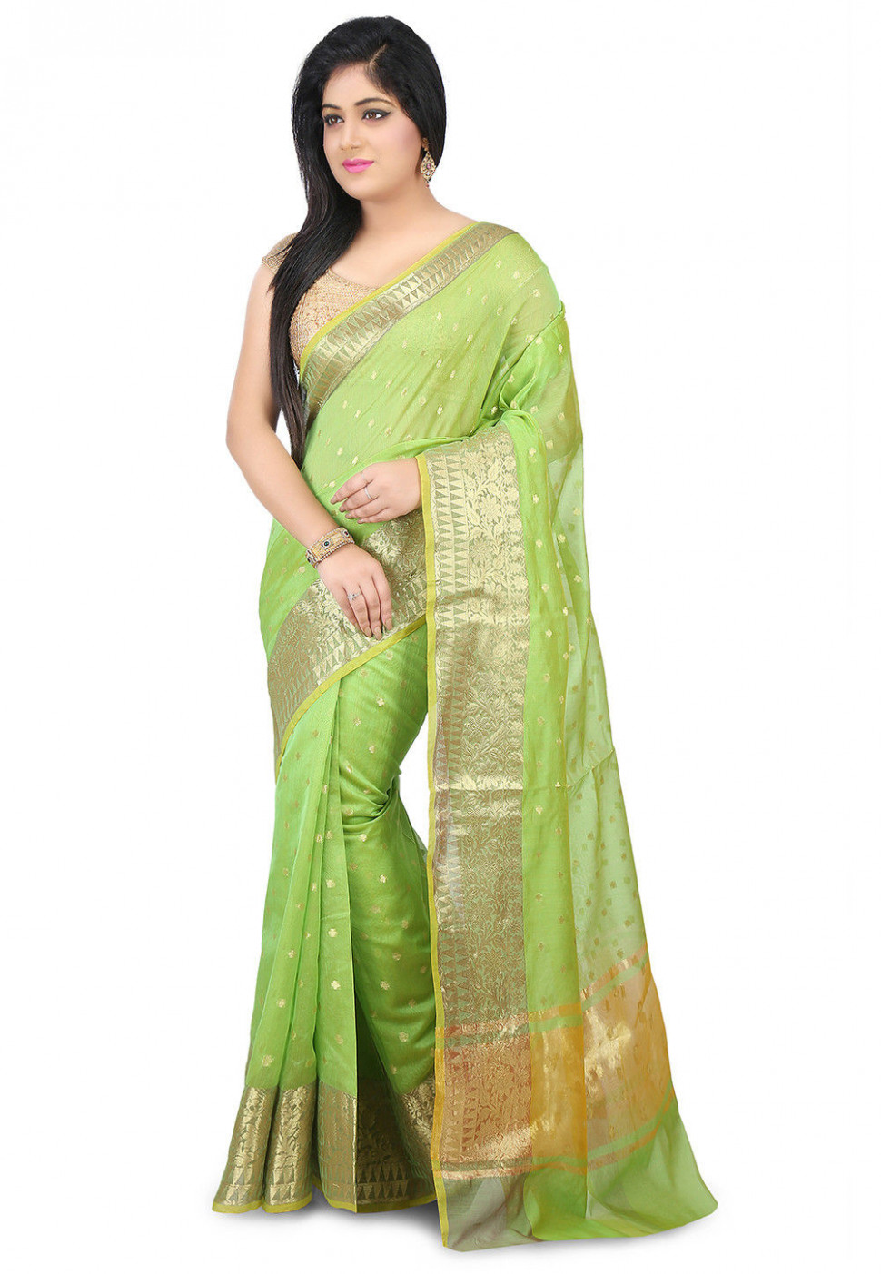 Woven Chanderi Silk Saree in Light Green : SWZ83