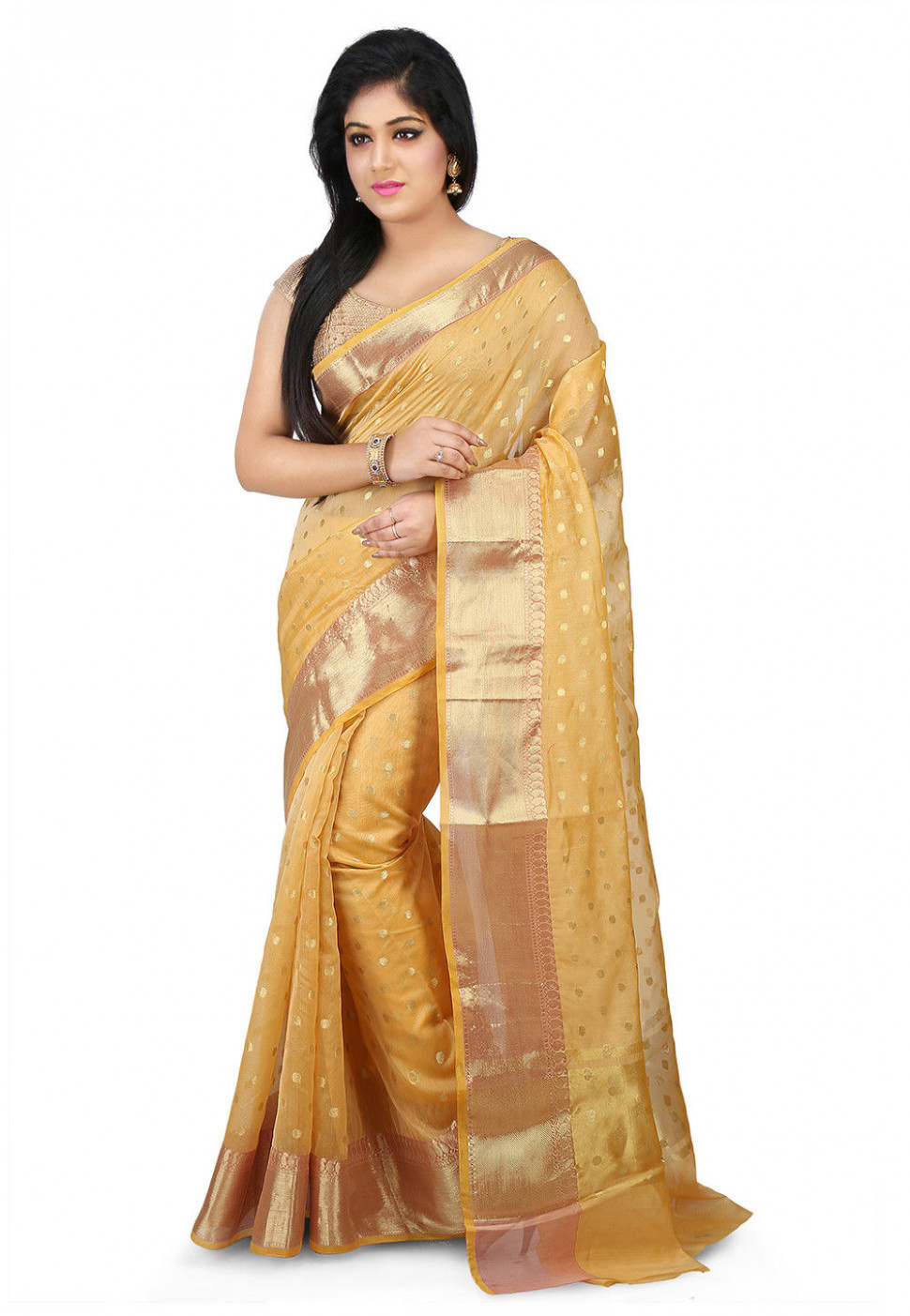 Woven Chanderi Silk Saree in Light Yellow : SWZ84