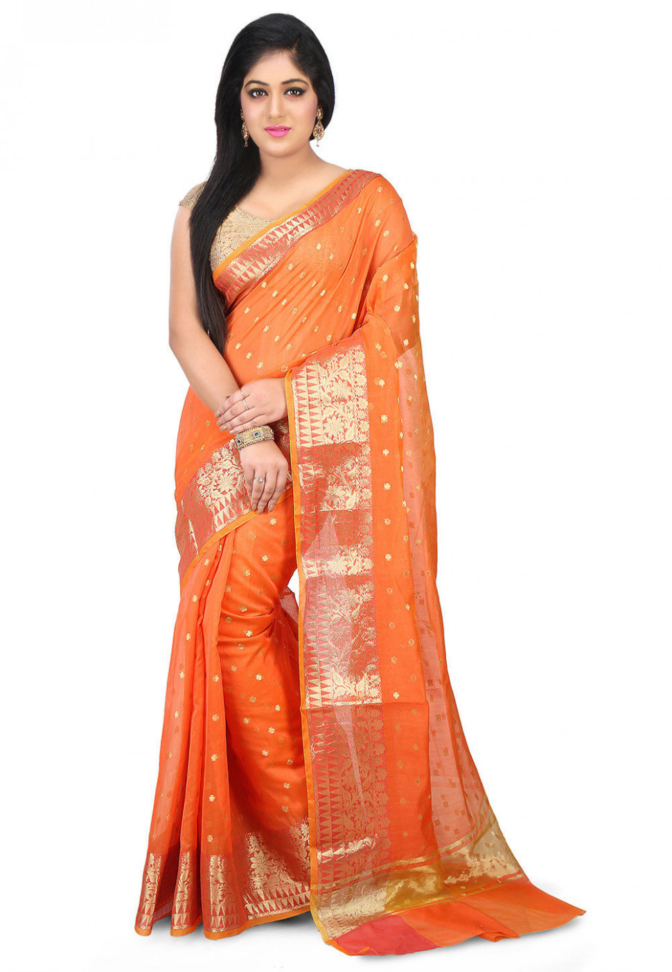 Woven Chanderi Silk Saree in Orange : SWZ87