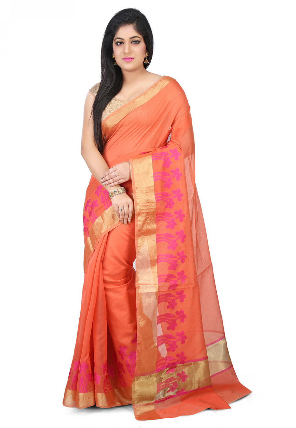 Woven Chanderi Silk Saree in Peach : SWZ68